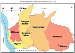 Map of  Ruvuma districts